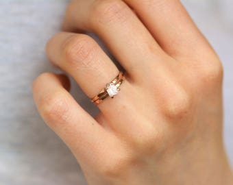 Kunzite Ring. Raw Kunzite Ring. Pale Pink Tiny Kunzite Ring. Rose Gold Kunzite Ring. Rose Gold Engagement Ring. Gift for Her. Gift Ideas