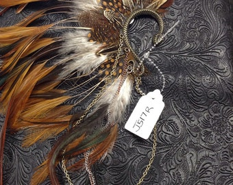 OOAK Tribal Feathered Ear Cuff // Burning Man // Festival // Belly Dance // Gypsy // Steampunk //Incognito