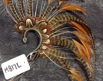 OOAK Handcrafted Tribal Feathered Ear Cuff // Burning Man // Festival // Rave // Belly Dance // Gypsy//Incognito M817L