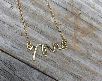 Mrs Necklace,Charm Necklace, Bridal Necklace, Wife necklace, Bride gift, wedding gift, Gifts for her, 18k Gold