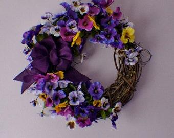 Spring Wreath, Spring Wreath for Front Door, Purple Yellow Wreath, Violet Wreath, Easter Wreath, Spring Door Wreath, Summer Wreath