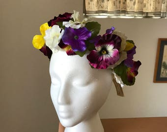 Adjustable flower crown, flower headband, boho flower crown, festival crown, bridal halo crown
