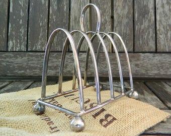 Vintage Silver Plate Ball Feet Toast Rack Four Slice Holder