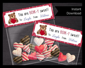 Valentine Bear with Heart Baggie Topper, Valentine's Treat Bag, Instant Download, Editable