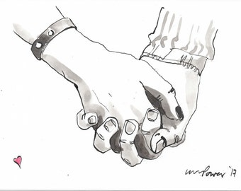 Holding hands #04 - Original pen and wash painting/drawing with pen & indian ink - Romantic, valentine gift idea, couple holding hands love