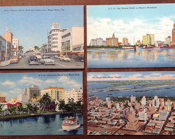 Miami, Florida,v intage postcard, lot of 4, 1950's, Lincoln Road and Collins Ave, Hotels, Downtown Miami, Magic City, kitsch