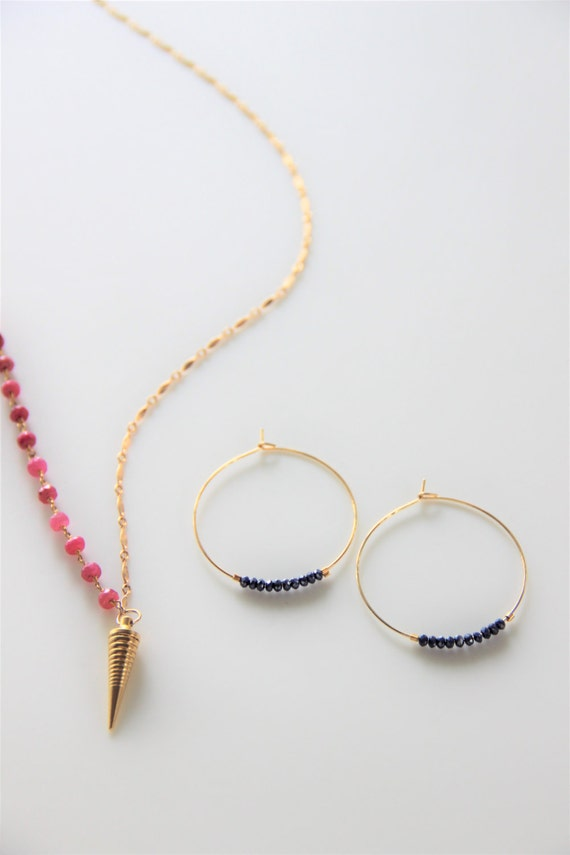 Hello Gorgeous!!! Hoop Earrings with Semiprecious Black Gemstone. Available in Gold, Rose Gold or Silver