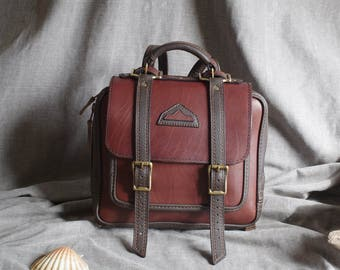 briefcase, brown leather satchel backpack