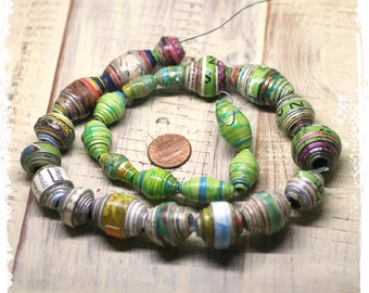 Multicolor Big Hole Paper Beads, Large Hole Rolled Paper Beads, Eco-friendly, Destash, Craft Supplies, Boho Chic Components,