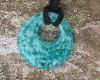 Fused Glass Pendant. Turquoise/Blue Glass Pendant