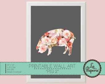 LITTLE PIG Floral Illustration