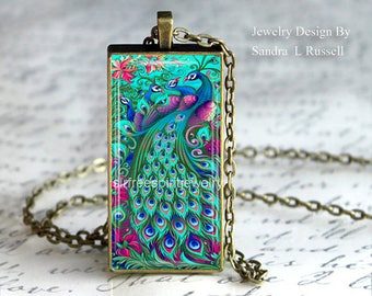Peacock Pendant, 1x2 inch pendant, photo image jewelry, turquoise peacock necklace, birds, bronze pendant, bird necklace, gift for women