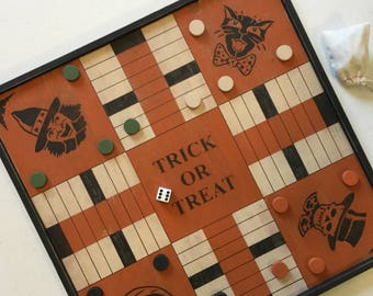 Parcheesi, Halloween, Game Board, Primitive, Folk Art, Game Boards, Black Cat, Witch, Pumpkin, Skeleton, Sign, Gam
