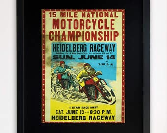 "LARGE 20""x16"" FRAMED Advertising Print, Black or White Frame/Mount, Motorcycle Championship"
