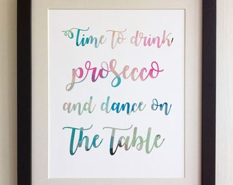 "FRAMED QUOTE PRINT, Time to drink Prosecco, Framed or just print, black, white or oak frame, 12""x10"", Modern Geometric Design"