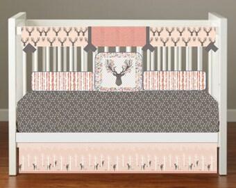 Woodland Crib Bedding, Girl Woodland Crib Bedding, Girly Deer Crib Bedding, Pink Deer Crib Bedding