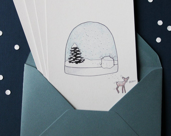 """set of 4 illustrated greeting cards """"snow ball"""" - ink & watercolor - snow + Fawn - grey envelopes"""