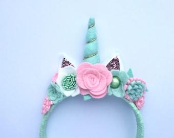 Unicorn headband, girls headband, dress up, unicorn, felt flower crown, unicorn birthday
