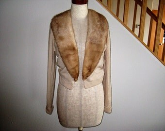"1950s Pin-Up girl 100% Cashmere Sweater with Mink Collar, Sz Small (34"" bust)"