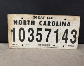 North Carolina Temporary License Plate 1980s? - Vintage Bar Decor Man Cave Wall Hanging Rustic NC 30-Day Tag - Cardboard Paper Collectible