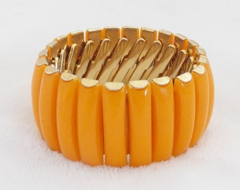 """Now Only 5 Dollars! Funky & Fabulous 1960's 1 1/4"""" Wide Gold Tone Tangerine Lucite Expandable Bracelet"""