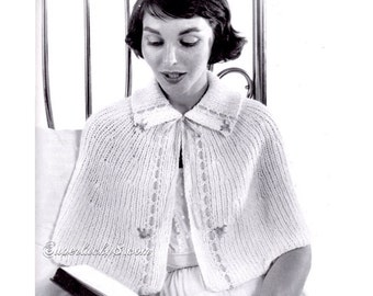 Knitting Pattern Bed Cape : INSTANT PDF Vintage Knitting Pattern Unique Ladies Cape Jacket Shawl Sweater ...