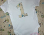 First birthday Peter Rabbit vest/bodysuit/top - Girl's 1st birthday outfit - Boy's 1st birthday outfit- rabbit birthday bodysuit - Number 1