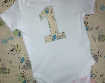 First birthday Peter Rabbit vest/bodysuit/top - Girl's 1st birthday outfit - Boy's 1st birthday outfit- rabbit birthday bodysuit - Number 1