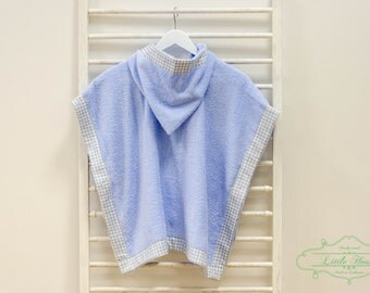 Hooded Baby Beach Towel - Handmade Blue Gingham Hooded Poncho Towel - Toddler Towel