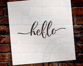 Hello - Hand-Written Script - Word Stencil - Select Size - by StudioR12
