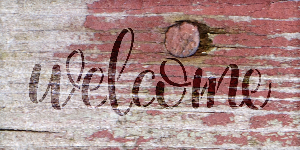 Welcome -Side Script - Word Stencil - Select Size - STCL1493 - by StudioR12