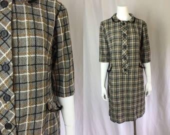 Large ** 1960s NUBBY WOOL plaid Berkshire b tween dress ** vintage sixties wool dress