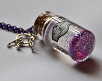 """Potion series """"Life renewal"""" magic in a glass bottle violet pendant inspired by Harry Potter Key charms"""