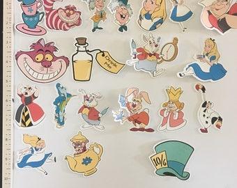 20 pieces 2.5 x 1.5 Alice in wonderland printed die cuts