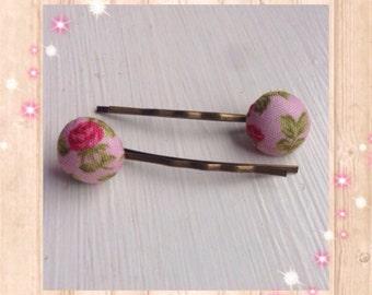 Bobby pins, Hair pins, Floral hair pins, Stocking filler gift, Vintage hair pins, Vintage hair clips, Floral hair clips, Pink hair pins