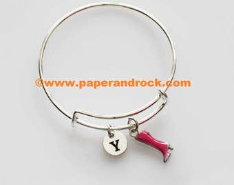 Boots shoe initial bangle, Cowboy boots jewelry, shoe bracelet, clothing jewelry, accessory bangle, women's shoes jewelry