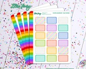Pastel Rainbow Half Box Planner Stickers by Lillie Henry! Bright, fun, and functional stickers perfect for planning your life!