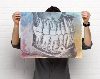 Watercolor Teeth Artistic  Dental Artwork