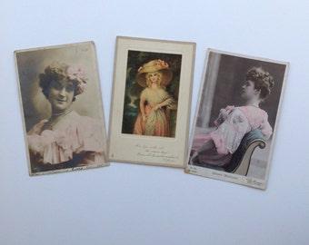 Vintage Postcards - Carte Postale- Paper Ephemera - Used