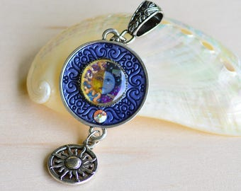 Sun and Moon Pendant w/ Sun Dangle and Swarovski Crystal