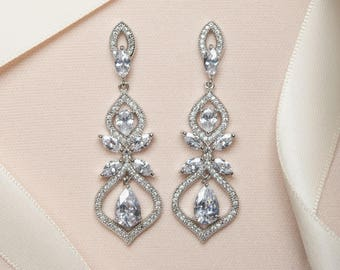 Bridal Earrings, Drop Earrings, Silver Earrings, Wedding Earrings