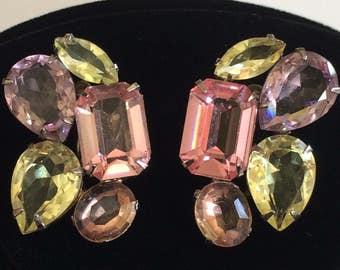 Beautiful Vintage Miriam Haskell Earrings~Pastel Glass Rhinestones/Gold Tone~Signed