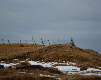 Fence on a Hill - Photographic Art - Reykjavik * Iceland * Travel Photography * European Travel * Wall Art *