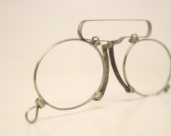 Antique Silver Spring Bridge Pince Nez Eyeglasses