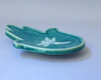 Turquoise ring dish shaped as Hamsa or palm, decorated with a white dragonfly, Ceramic ring tray, Turquoise Jewelry tray, Jewelry dish,