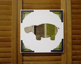 Hippo #5 Fabric Wall Art