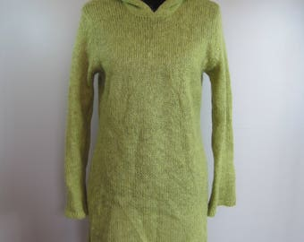 VINTAGE Knit Dress Size XL Womens Sweater Dress Tunic Hooded Cable Mohair Blend  WSWTR598