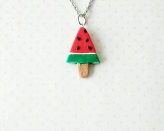 Watermelon popsicle necklace, polymerclay