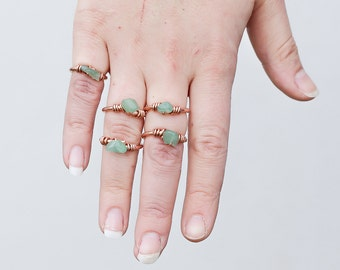 Rose gold rings with aventurine nuggets