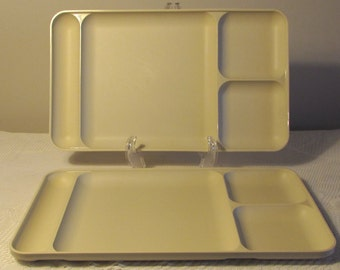 Almond Colored Heavy Plastic Trays, Set of 2 Tupperware Divider Trays, Picnic Supplies, Outdoor Trays, Durable Plastic Trays